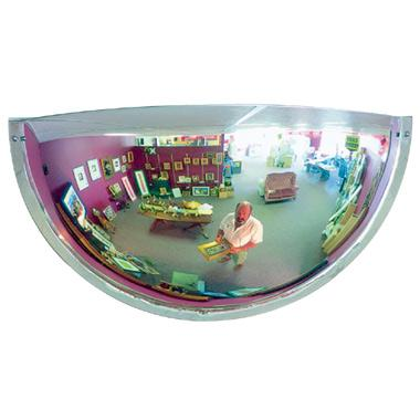 The hemisphere mirror provides a 180 degree view of an area.